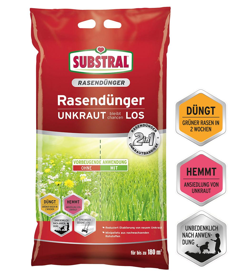 SUBSTRAL® Rasendünger 2in1 mit Unkraut-Stopp für 180 qm