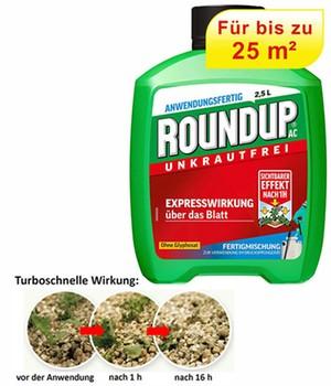 ROUNDUP&reg, AC Turbo Unkrautfrei ohne Glyphosat Anwendungsfertig für 25 m²,2,5 l Kanister
