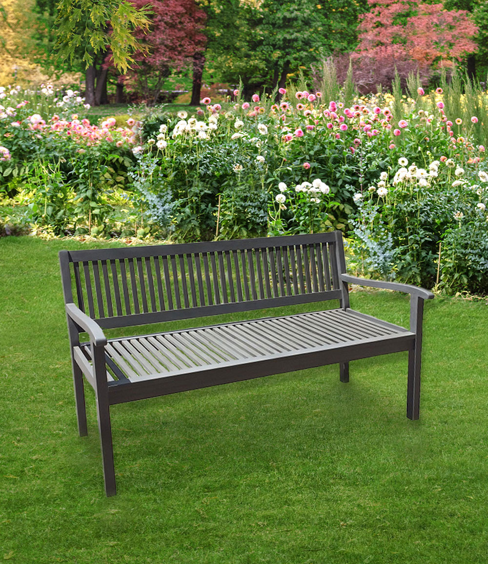 "*NEU*: Gartenbank ""Winston"" aus Eukalyptusholz, grau"