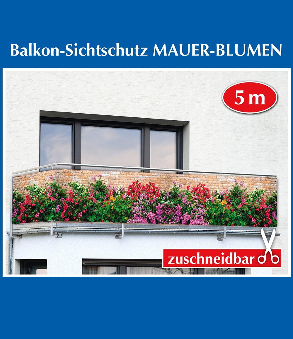 Balkon-Sichtschutz 'Mauer-Blumen'