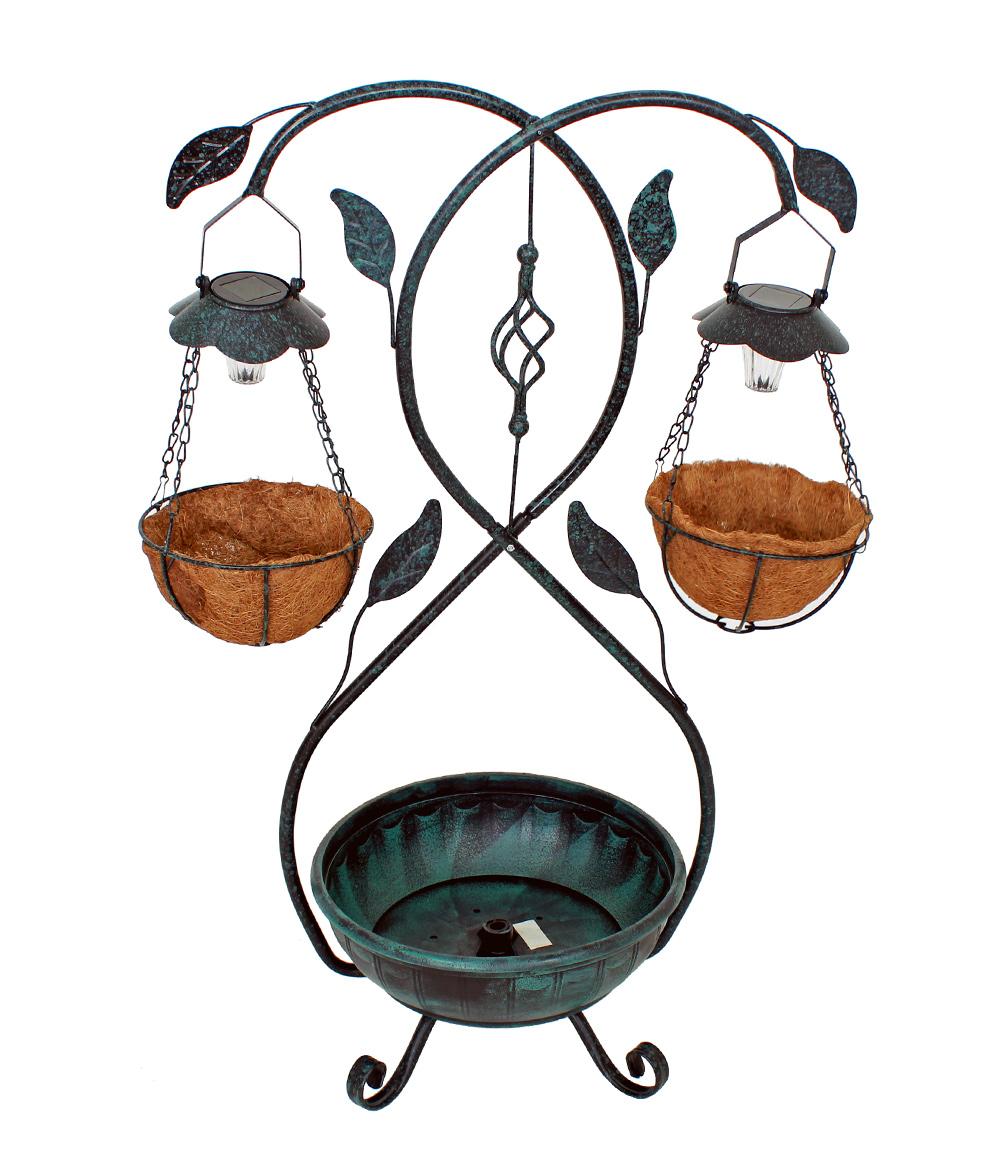 *NEU*: Pflanzständer aus Eisen, mit Solarleuchte, antik-grün