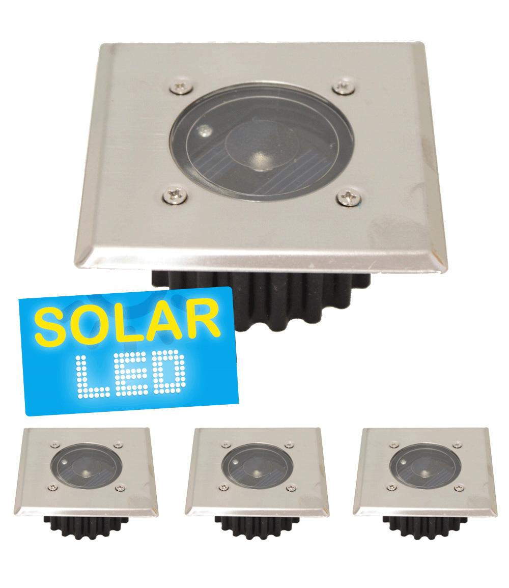 4er-Set LED Solar Bodenstrahler 'eckig'