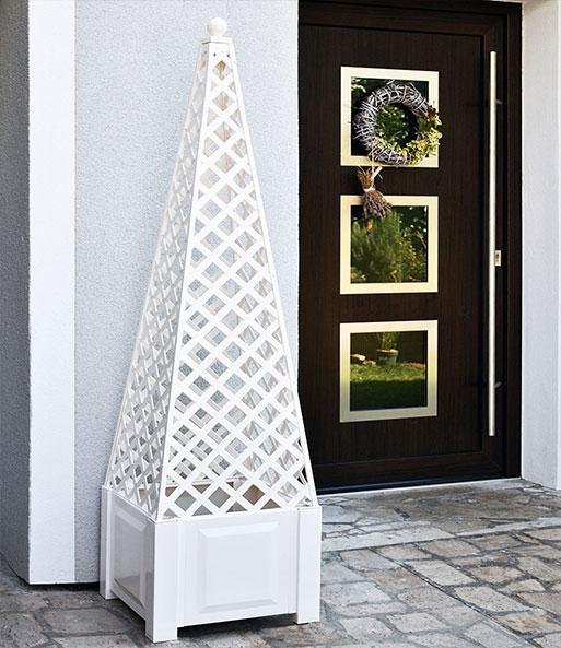 Obelisk weiß Pflanzkasten quadratisch + Aufsatz Obelisk   BALDUR-Garten