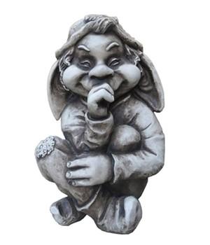 "Gartenskulptur ""Troll Bardin"" aus Fiberglas, grau"