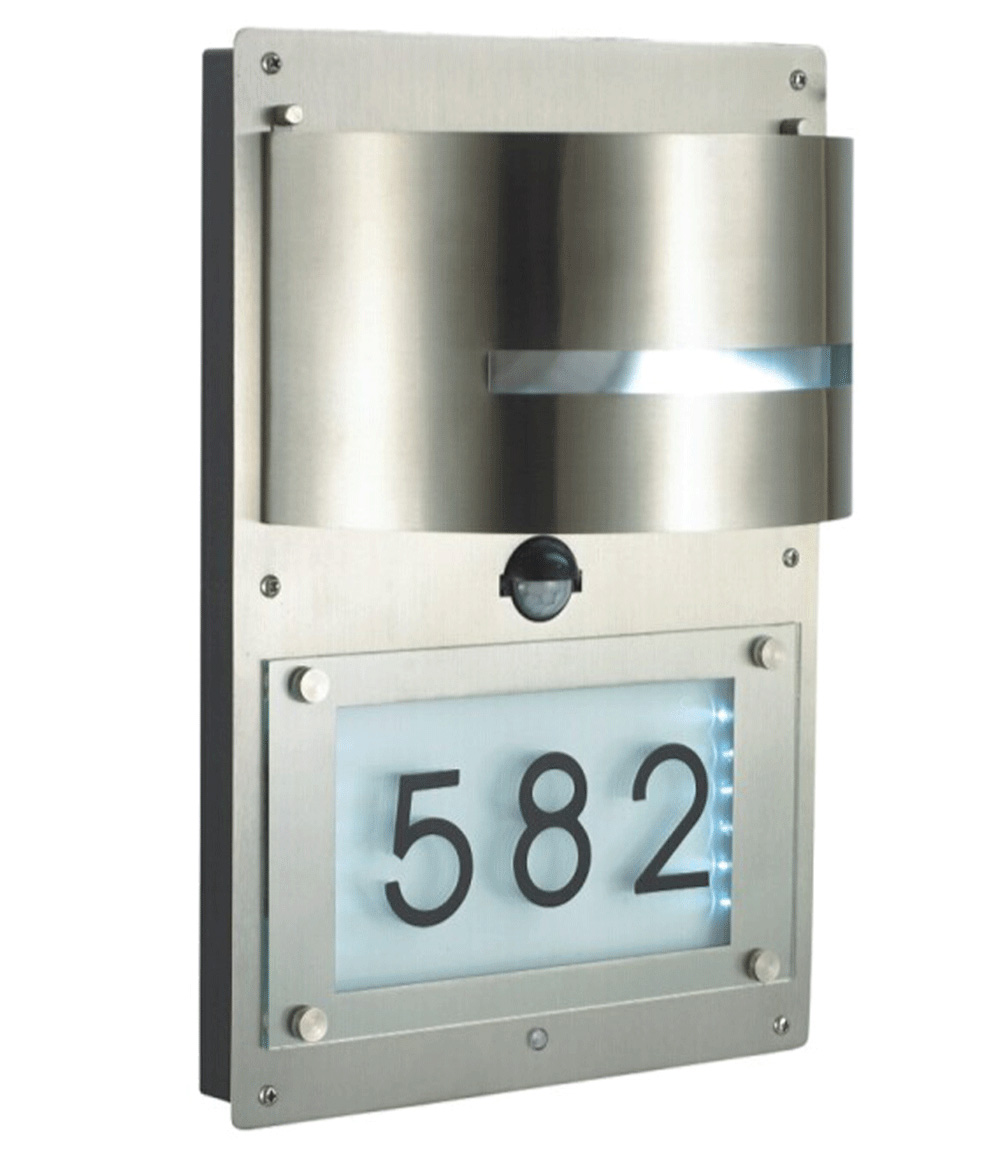 Edelstahl Wandlampe mit Hausnummer & Bewegungsmelder