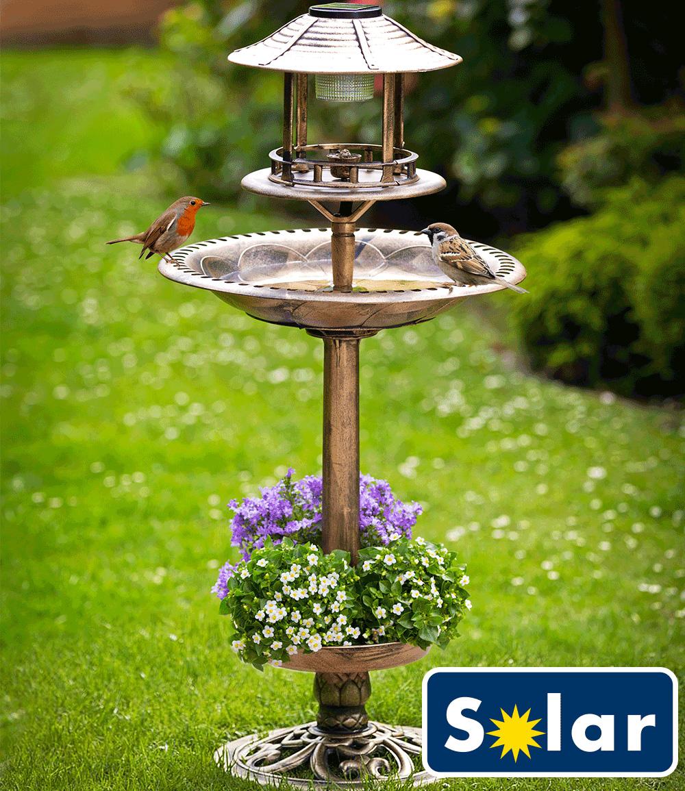 Solar-Vogelbad mit Pflanzschale bronze