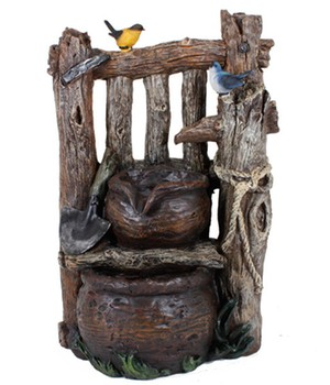 Brunnen  - VARESE -  in Holzoptik mit 2-fach Kaskade,1 Stück, 318763