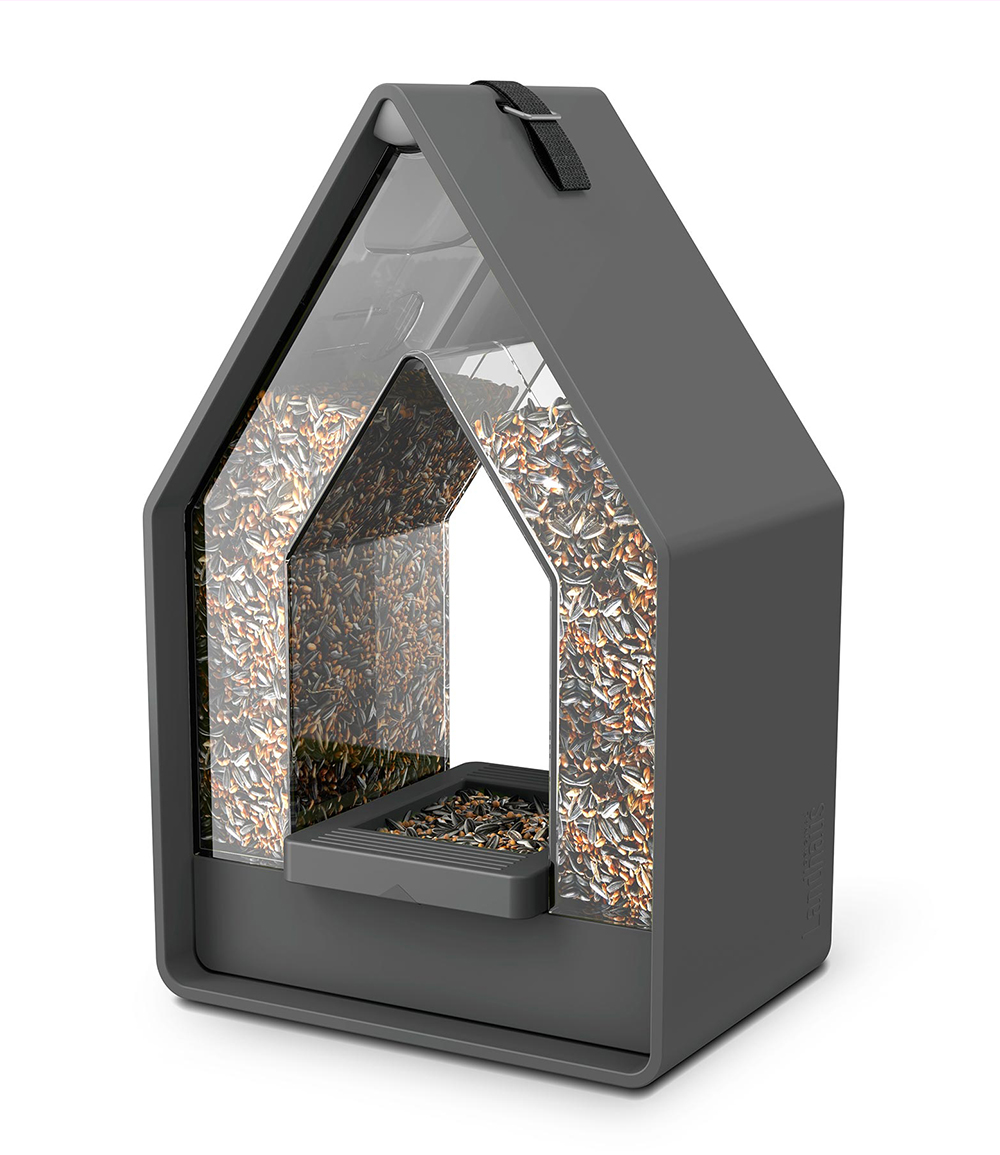 """*NEU*: Vogelfuttersilo """"Landhaus"""" aus Kunststoff, Granitfarben"""