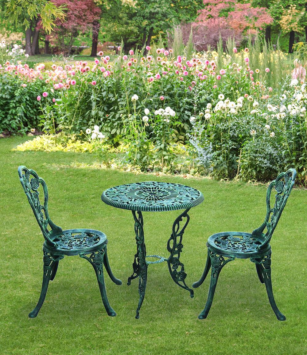 Bistro-Set 'antik-grün', 3-teilig