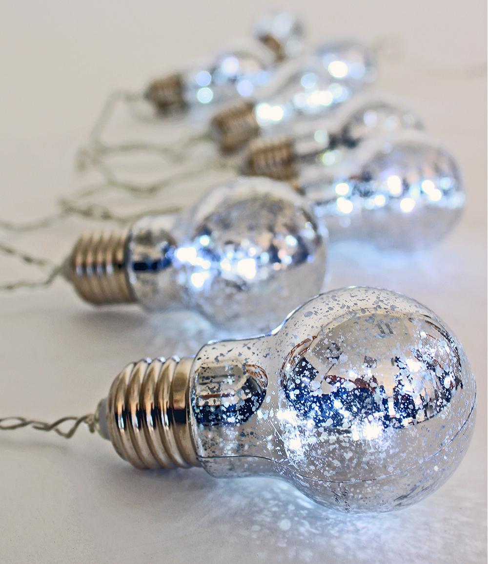 Lichterkette 'Glühbirnen' silber 8-teilig