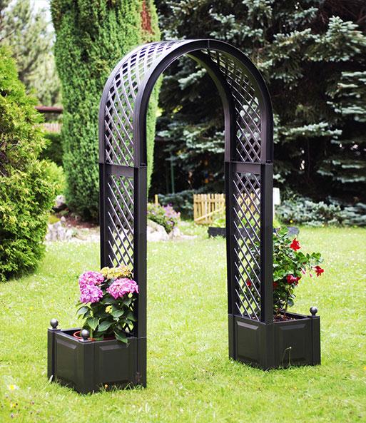 rosenbogen mit pflanzkasten anthrazit baldur garten. Black Bedroom Furniture Sets. Home Design Ideas