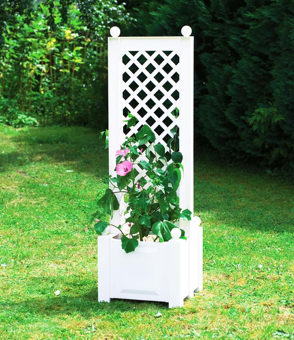 Pflanzkasten klein mit Spalier, zentral, 43 cm 'weiß'