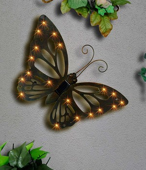 "*NEU*: Wand-Solarleuchte ""Schmetterling"" aus Metall, antikbraun"