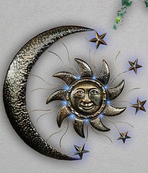 """*NEU*: Wand-Solarleuchte """"Sonne und Mond"""" aus Metall"""
