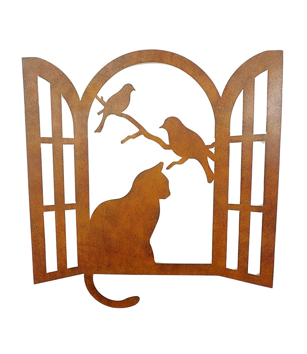Wanddekoration ' Katze am Fenster'