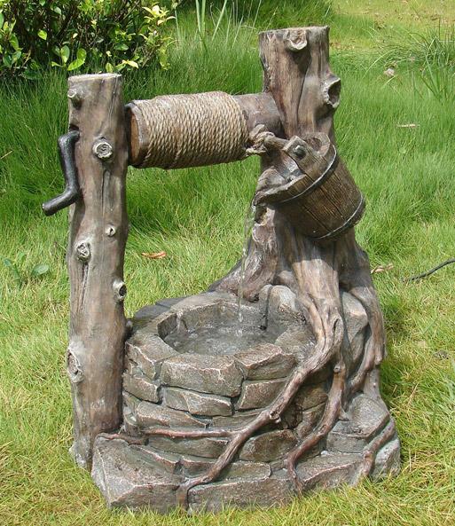 Brunnen proteus steinoptik mit deko seil baldur garten - Gartendeko brunnen ...