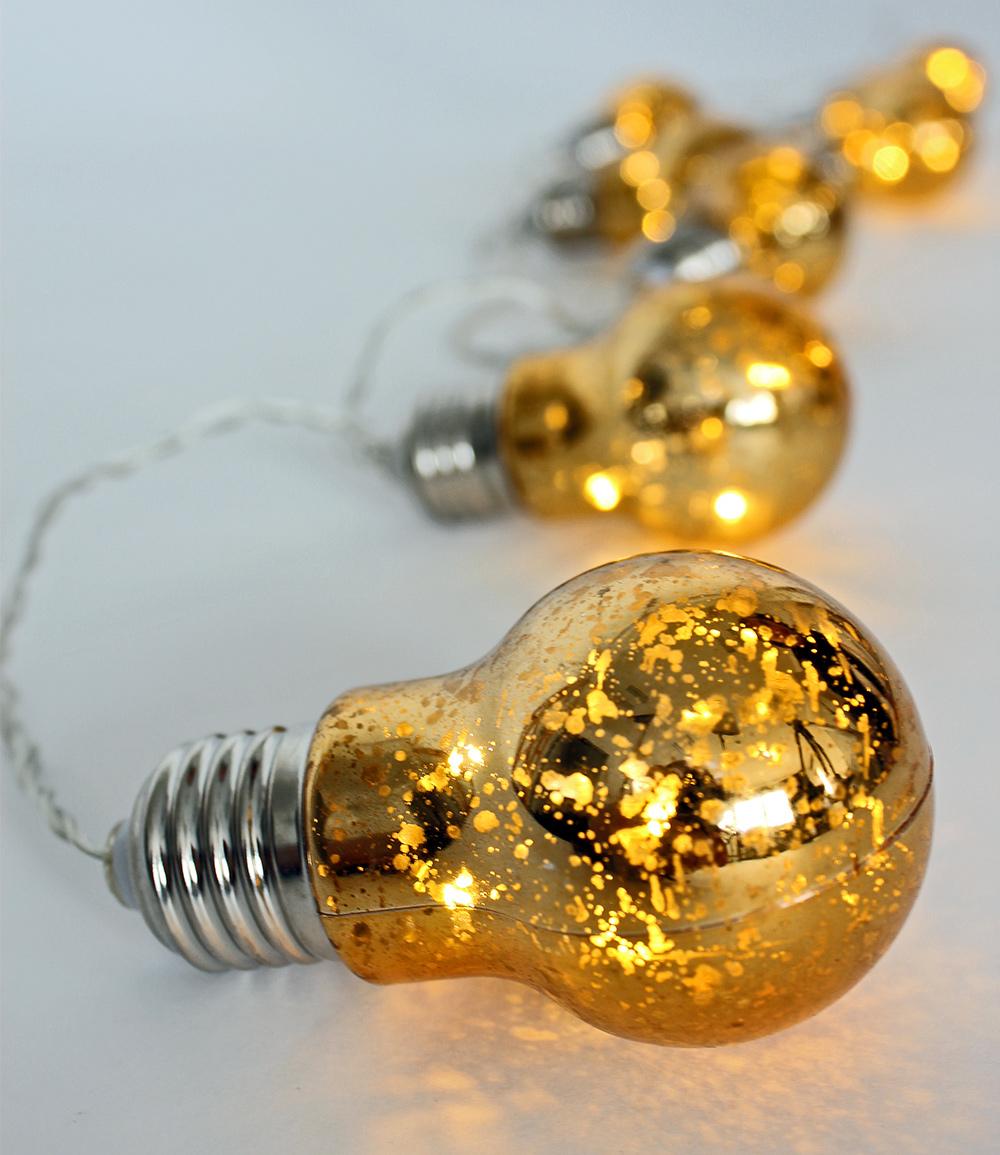 Lichterkette 'Glühbirnen' Gold 8-teilig