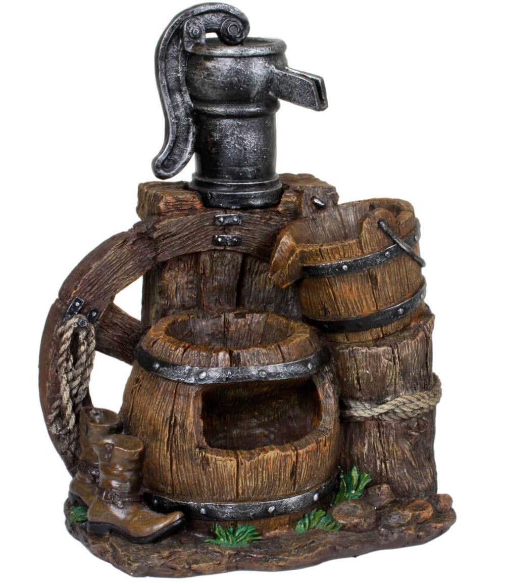 Brunnen NEREUS in Holz-/Stein-Optik