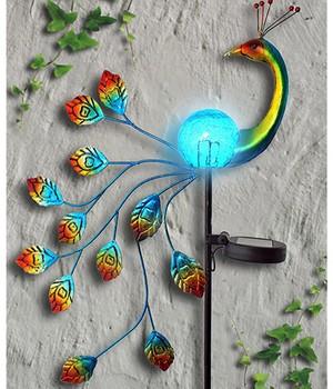 "*NEU*: Solarstecker ""Pfau"" aus Metall und Glas, mehrfarbig"