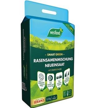 Trockenheitsresistente Rasensamen Neueinsaat  - Smart Green -  100 m²,2,5 kg