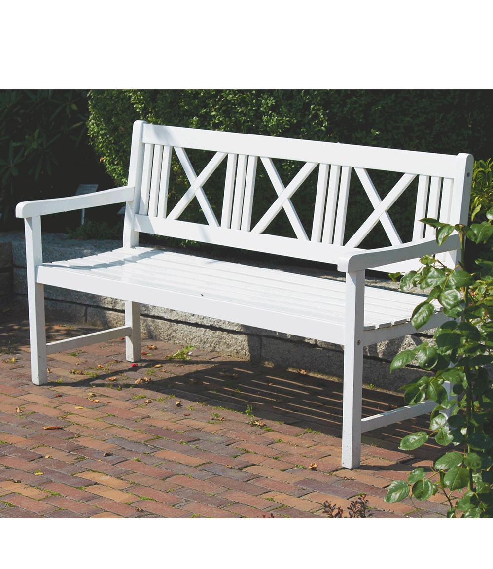 """*NEU*: Gartenbank """"Den Haag"""" aus Eukalyptusholz, weiß"""