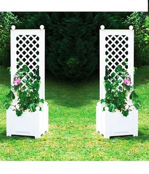 Pflanzkasten klein mit Spalier, zentral, 43 Zentimeter  - weiß -  2er Set,1 Set