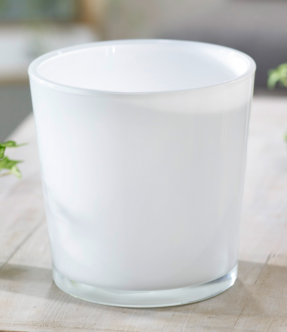 Glas-Übertopf ø 19 cm 'weiß'