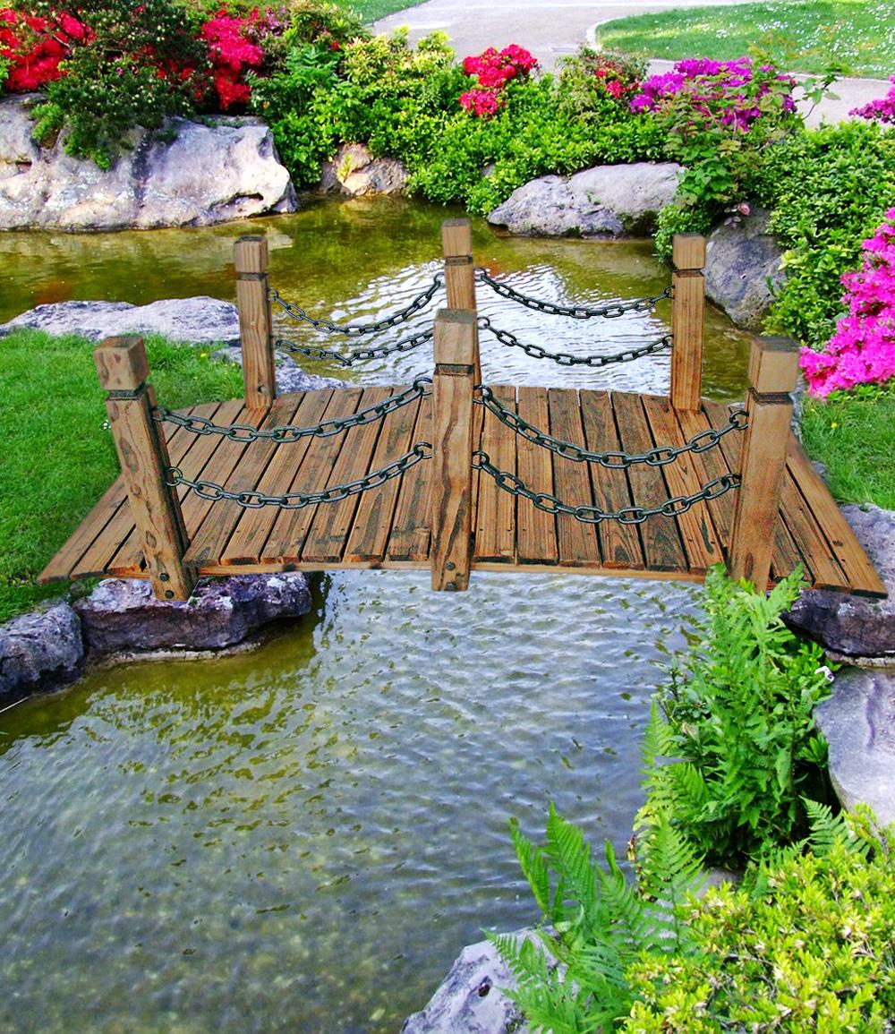 Gartenbrücke mit Geländer aus Kiefernholz, braun (Kopie) Tectake