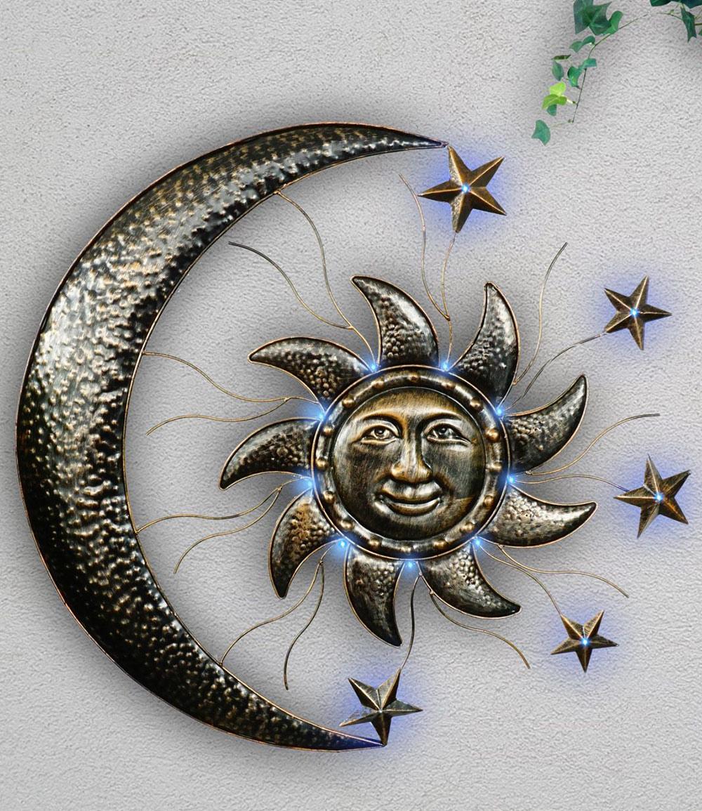 """Wand-Solarleuchte """"Sonne und Mond"""" aus Metall (Kopie) Baldur"""