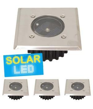 4er-Set LED Solar Bodenstrahler ´eckig´,4er-Set