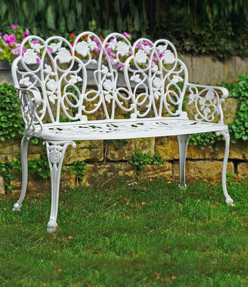 """*NEU*: Gartenbank """"Dornröschen"""" aus Aluminiumguss, weiß"""