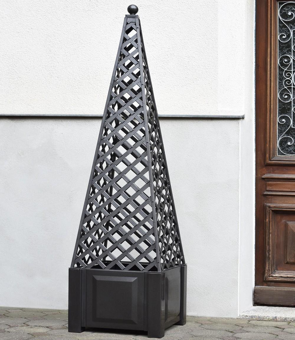 Pflanzkasten quadratisch anthrazit + Aufsatz Obelisk