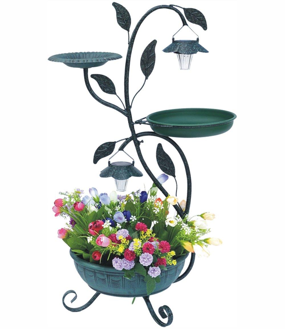 pflanzenst nder mit solarbeleuchtung und 2 vogeltr nken. Black Bedroom Furniture Sets. Home Design Ideas